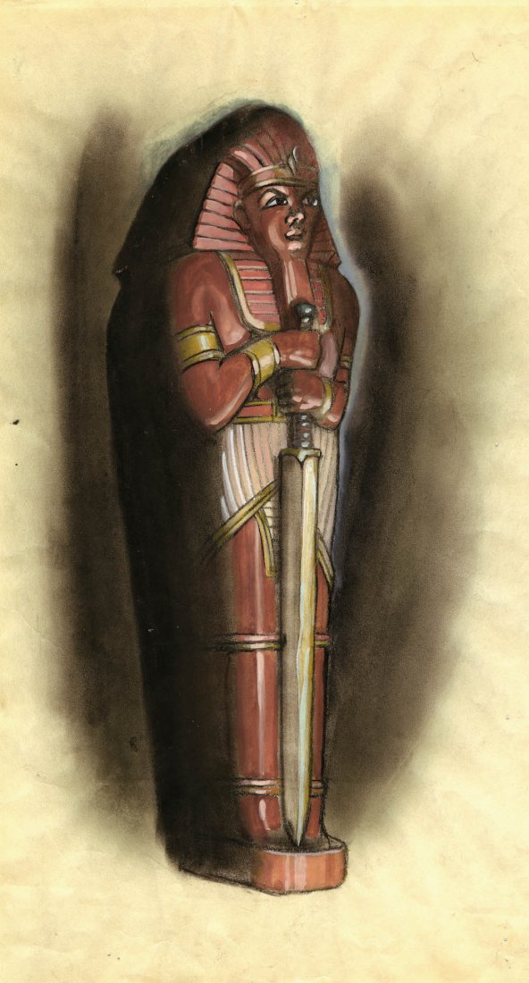 """8: Superman """"The Mummy Strikes"""" concept drawing"""