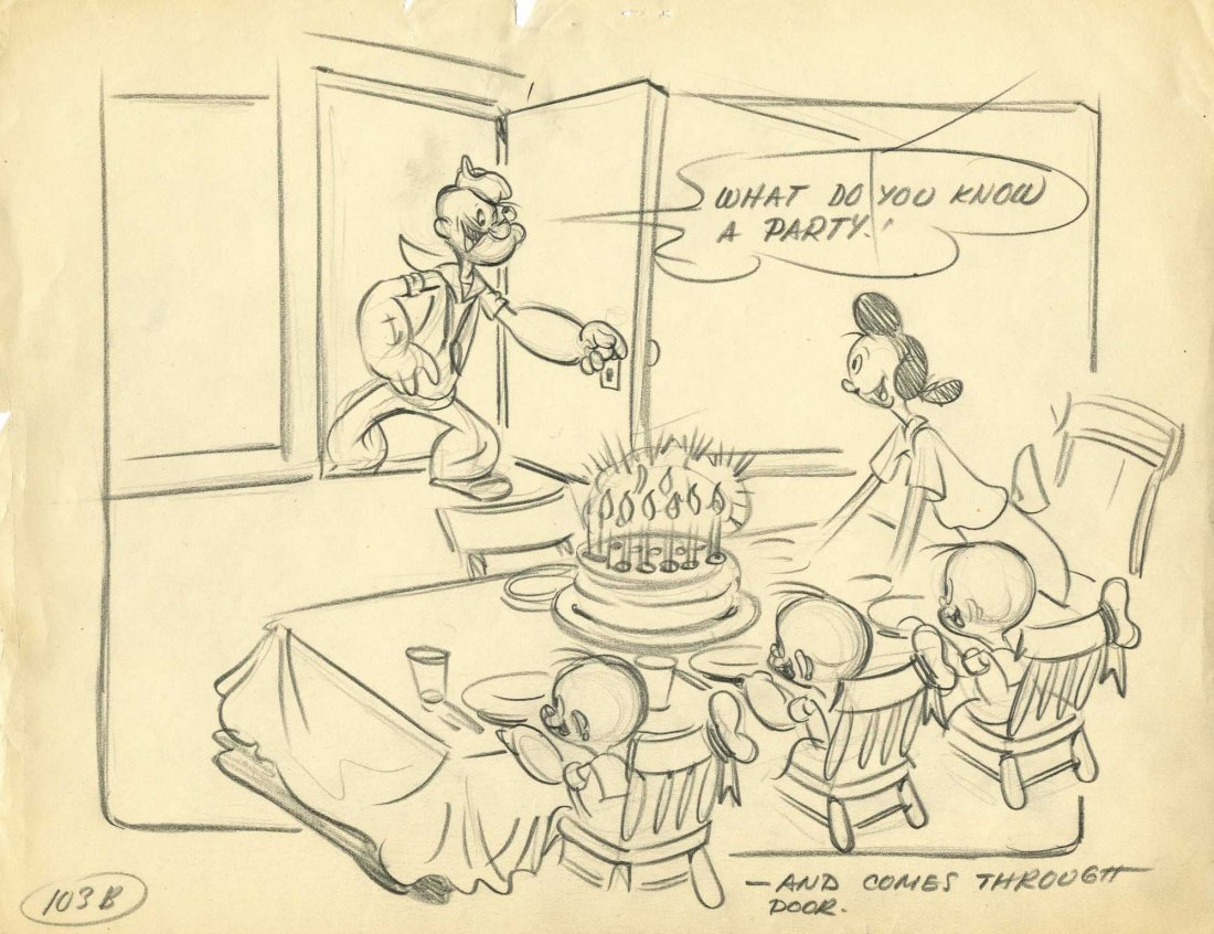 10: Pencil layout drawing from Popeye's Mirthday