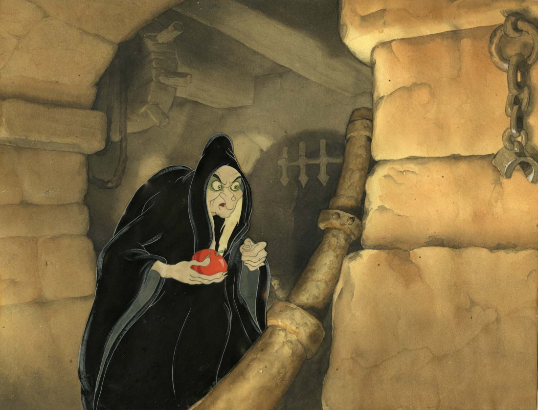 514 original snow white cel of the witch with apple