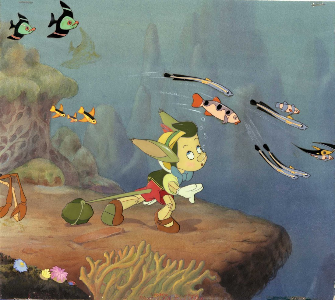 610: Production cels and background from Pinocchio