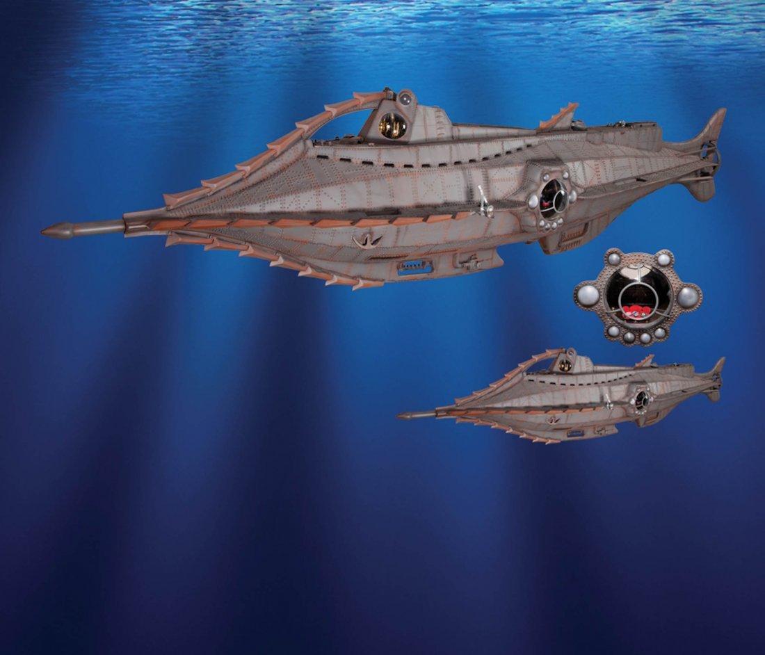 1: 20,000 Leagues Under the Sea Nautilus sub & squid