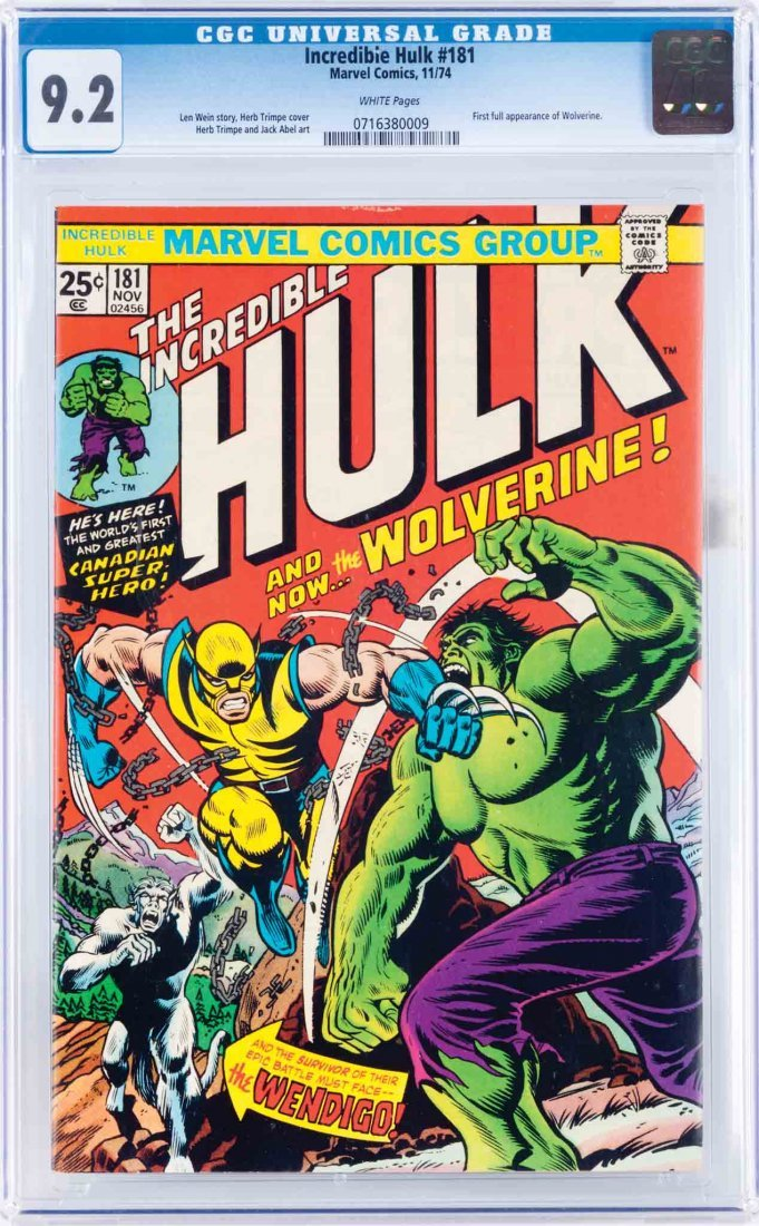 129: INCREDIBLE HULK COMIC WOLVERINE'S 1ST APPEARANCE
