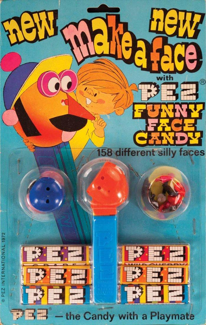 315: 1970S MAKE A FACE PEZ DISPENSER MINT ON CARD PEZ