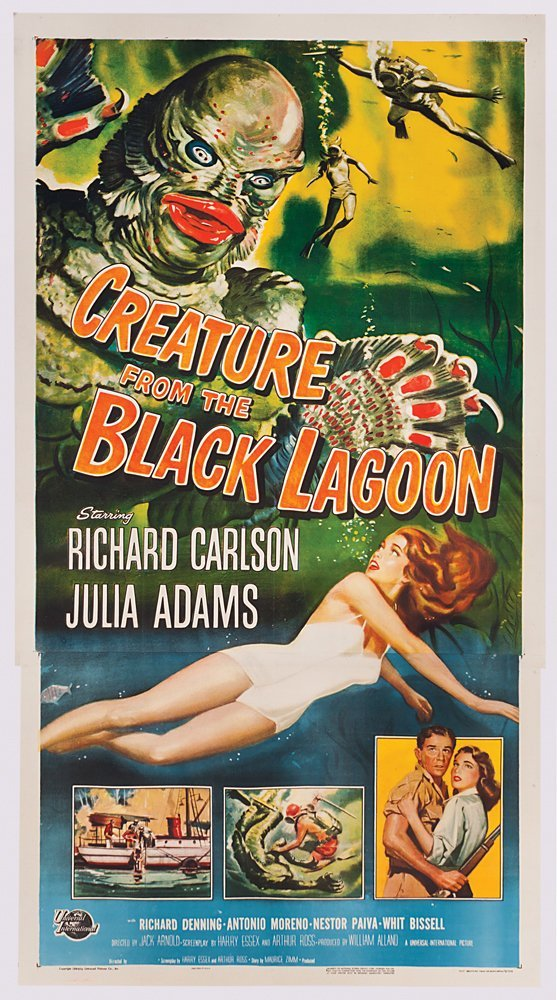 184: CREATURE FROM THE BLACK LAGOON NM 3-SHEET POSTER