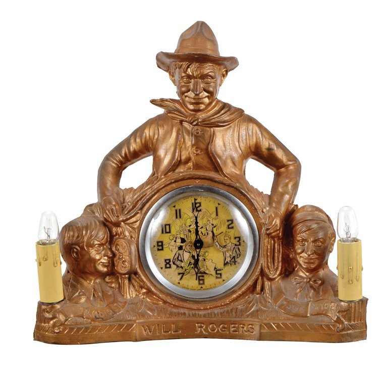 Vintage Will Rogers mantle lamp and clock.
