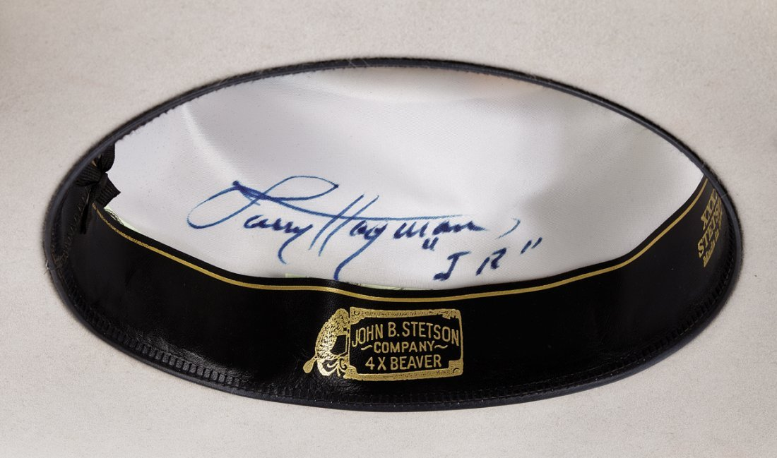 "Larry Hagman ""J. R. Ewing"" signature hat worn during - 4"