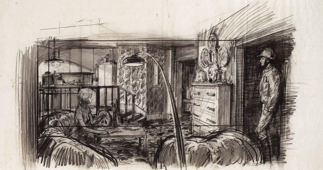 Mentor Huebner production art sketch for Soylent Green.