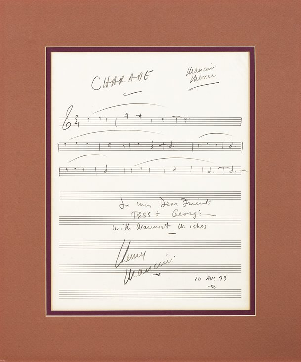 Henry Mancini inscribed and signed music for the title
