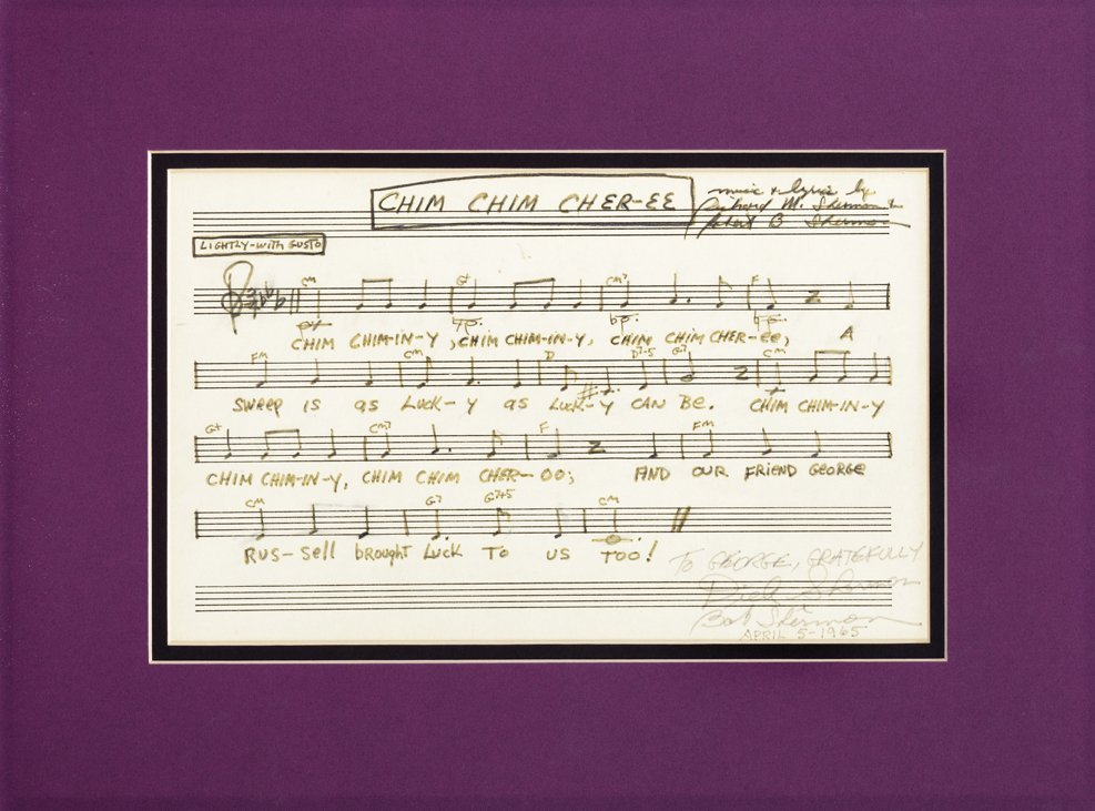 Dick and Bob Sherman signed and inscribed music and