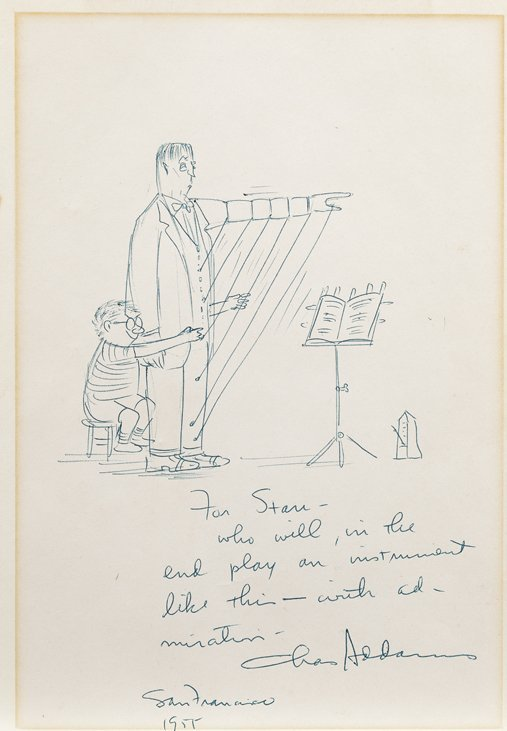 Charles Addams original Addams Family sketch inscribed