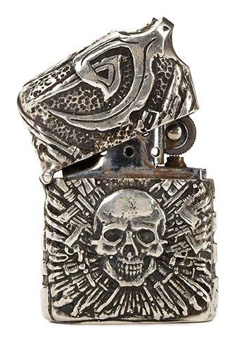 Barney Ross signature silver Expendables Skull lighter