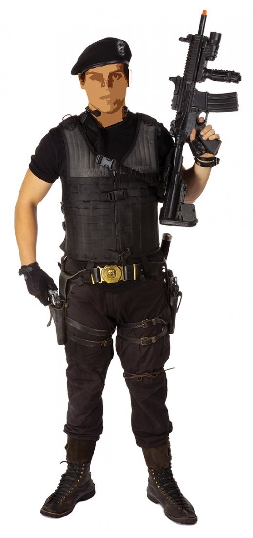 Barney Ross elaborate tactical ensemble.