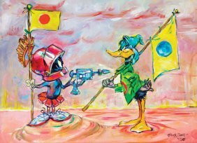 Oil painting signed by Chuck Jones from   Fire When