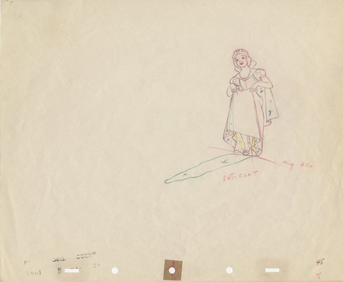 """Production drawing featuring """"Snow White"""""""