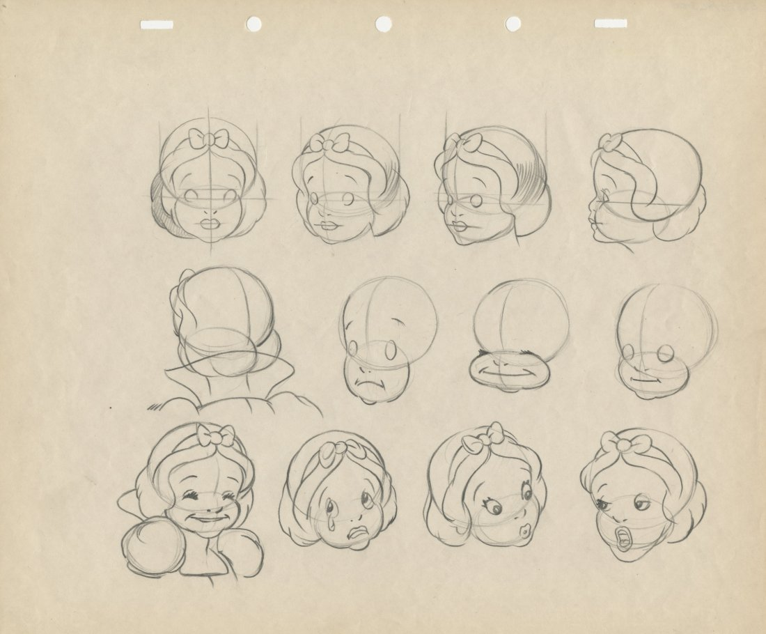 Model drawings from   Snow White and the Seven Dwarfs