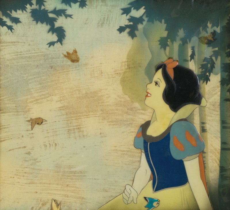 """Production cels of """"Snow White"""" and birds"""
