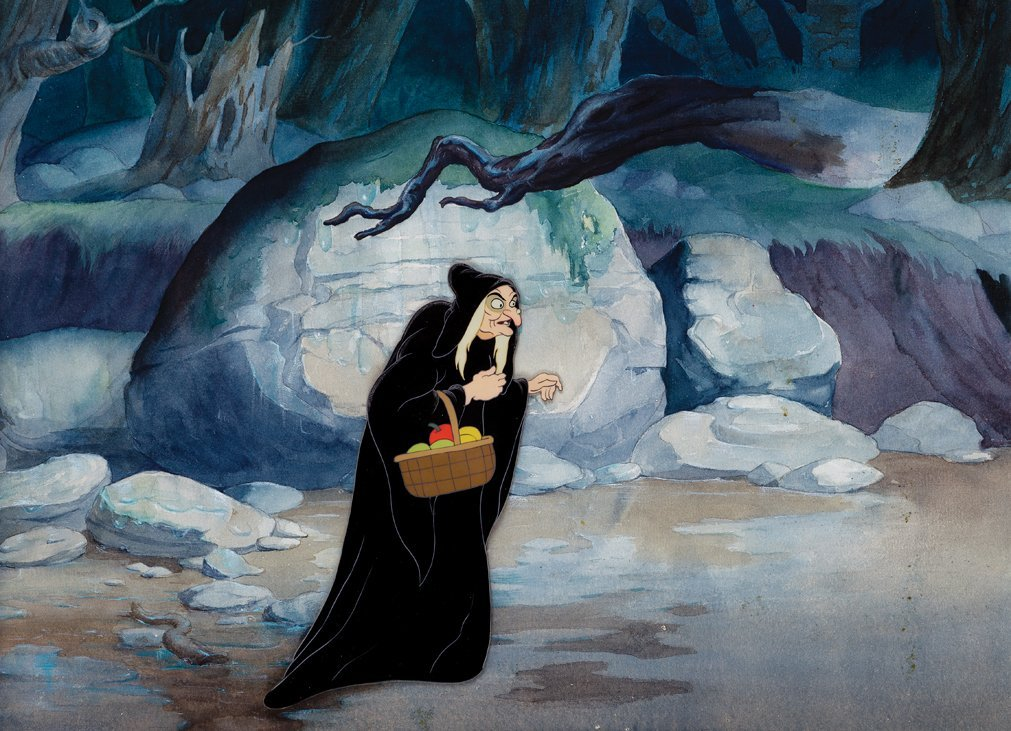 Production cel and background.- from   Snow White and