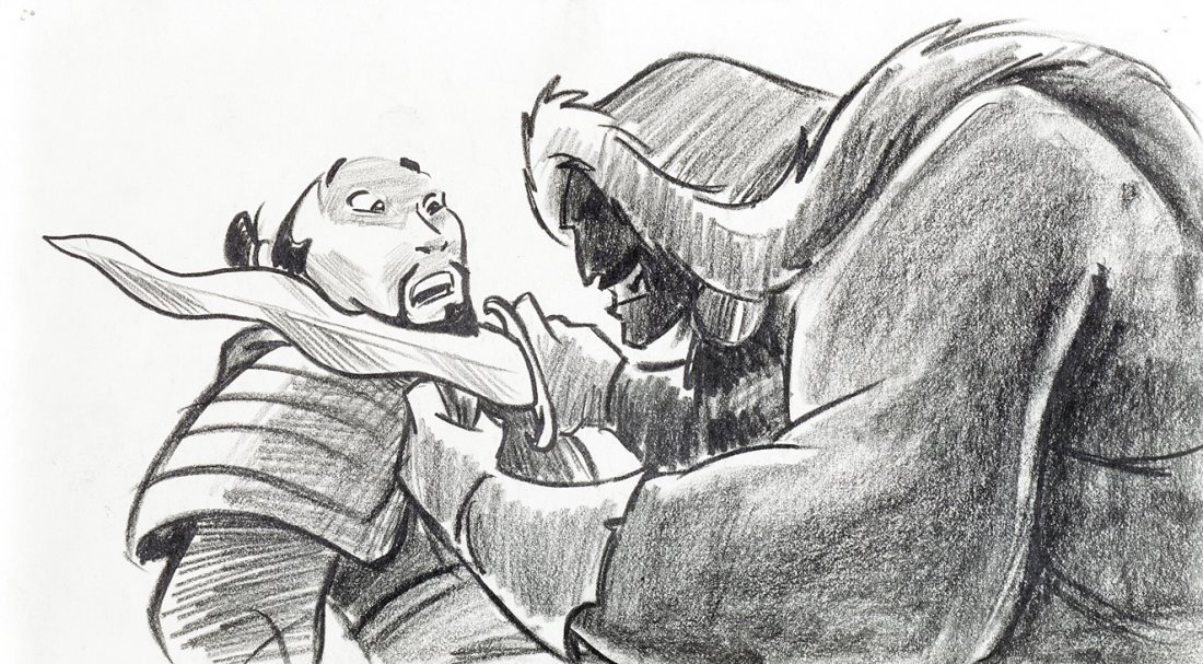 Original production storyboard drawing from   Mulan