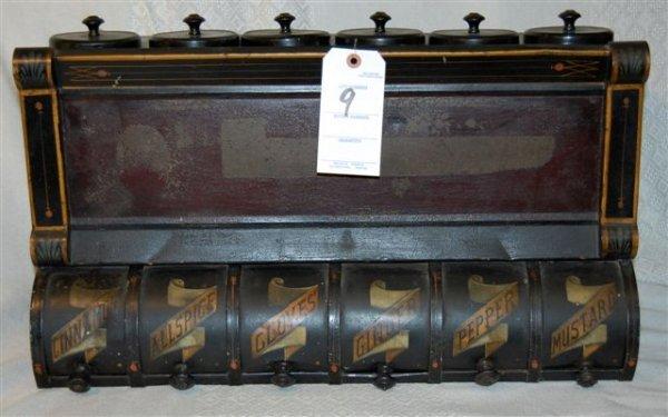 9: Tinware Spice Cabinet; 19 Th Century; Original Black