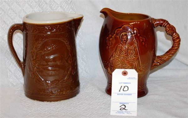 10: Brownware Pitchers (1) Crown Devon (1) Stag