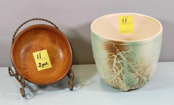 11: McCoy Pine Cone Vase & McCoy Pottery Bowl; #1413; E