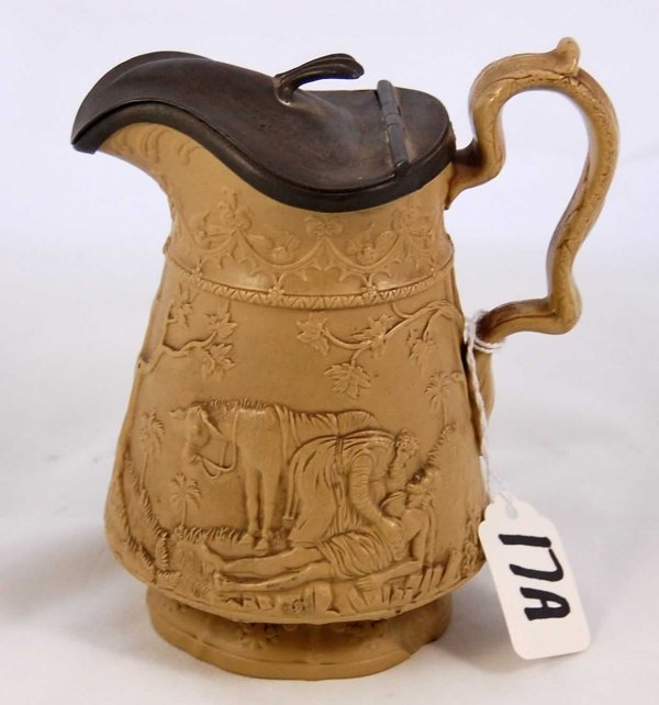 17A: Early, Rare Creamware Pitcher; by Jones & Walley