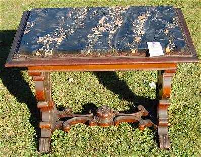 Marble-top table.