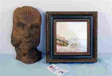 Art lot, bust & tile