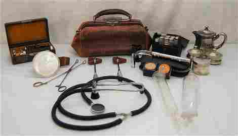 Antique Medical Equipment-Doctor Bag-many items