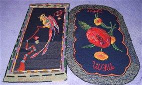 2 Vintage Hand-Hooked Wool Rugs-1900s - pretty