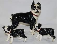 3  Hubley Cast Iron Boston Terrier Door Stops