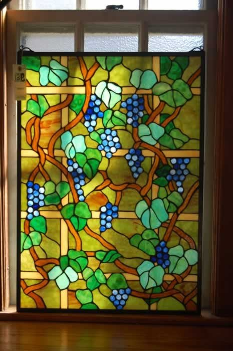 12C: Stained Glass Panel (grapes and leaves)