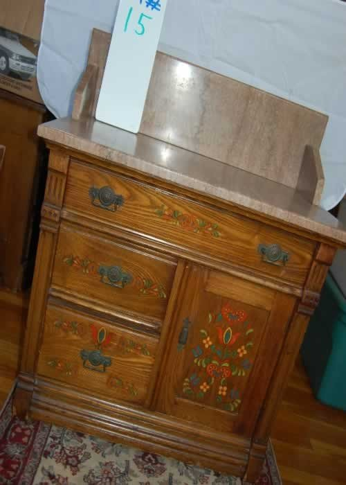 15: Oak Commode Wash Stand - Marble Top