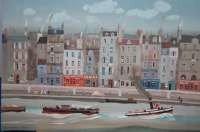 43: Michel Delacroix Lithograh-Seine River scene