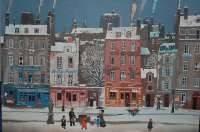 Michel Delacroix Lithograph-Paris street in winter