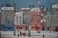 44: Michel Delacroix Lithograph-Paris street in winter