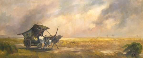1094: Dullah Landscape with Ox Cart