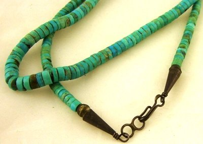 1008: Joe Cate traditional turquoise heishi necklace