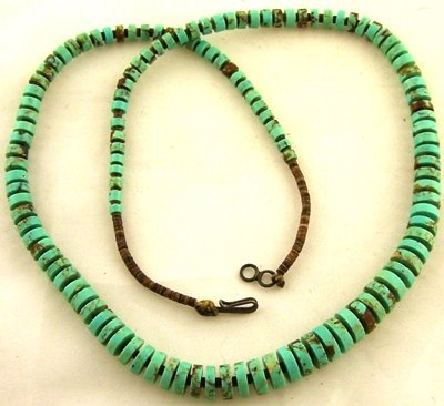 1009: Joe Cate traditional turquoise heishi necklace
