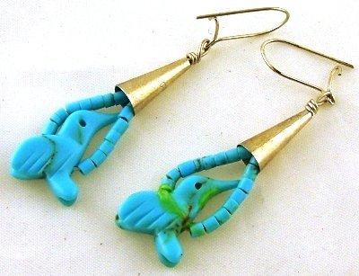 1013: Pair of American Indain turquoise  fetish earring