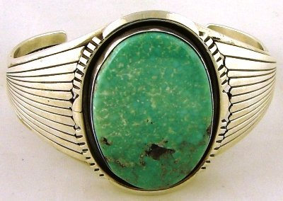 1014: Navajo silver & turquoise cuff by W Denetdale
