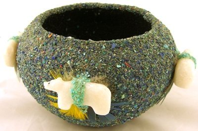 1019: Zuni clay fetish pot with crushed turquoise