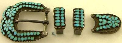 1016A: Zuni sterling silver & turquoise belt set