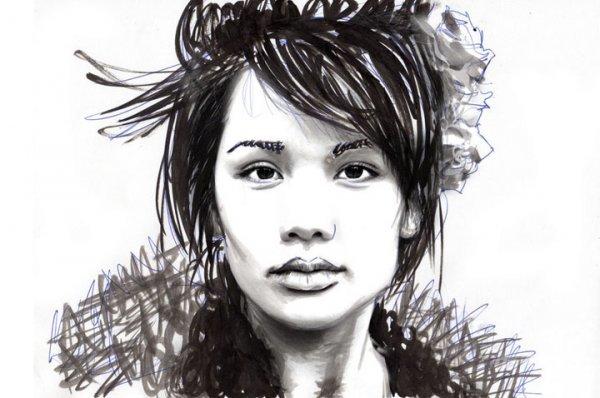 35: Adrian Gallagher Ink on Canvas 1 110x150cm