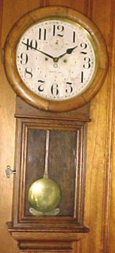 269: Antique 30-Day Oak Case RR  Keywound  Wall Clock