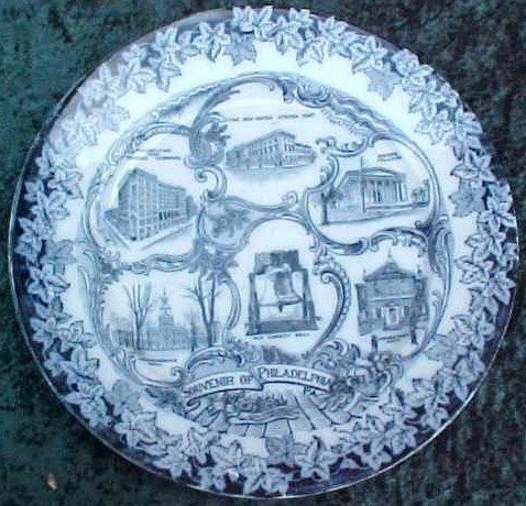 017: Flow Blue Souvenier Plate Philadelphia