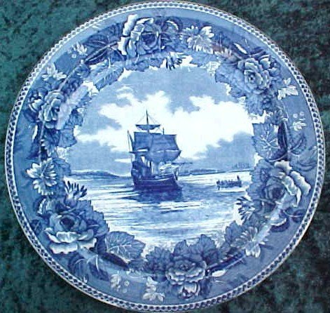018: Blue Transfer Wedgewood Plate Plymouth Harbor
