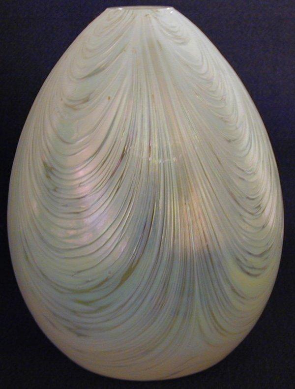 020: Art Glass Iridescent  Egg Shape Vase
