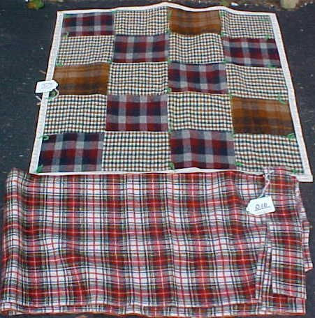 10: Hand-Tied Wool Quilts & Piece of Plaid Fabric