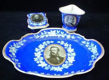 090: KPM Prussia Military Porcelain Tobacco Set